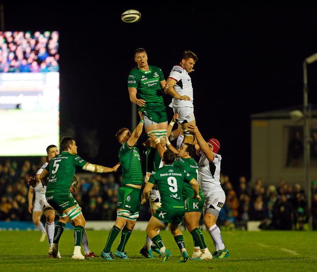 Connacht and Ulster contest a lineout (photo by Ashley Cahill/Action Plus via Getty Images)