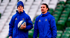Captain Johnny Sexton and team-mate James Lowe are sure to be at the forefront of the Leinster game plan this evening when Leo Cullen's charges bid to record their second win of the season over Munster. Photo by Ramsey Cardy/Sportsfile