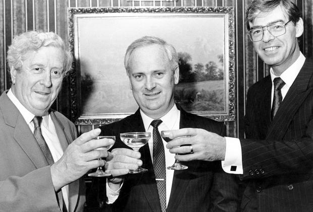 Cafe society: Dr Garret FitzGerald and John Bruton with Fine Gael colleague Alan Dukes