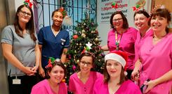 Taking it out on Twitter: Laura Fitzgerald posted this picture with colleagues from the maternity unit at Portlaoise Hospital on Christmas Day under the #ImAtWorkLeo hashtag