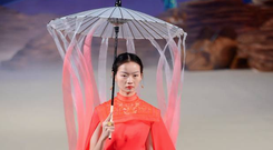Coral ombre-style by designer Xiong Ying at China Fashion Week SS19 in Beijing
