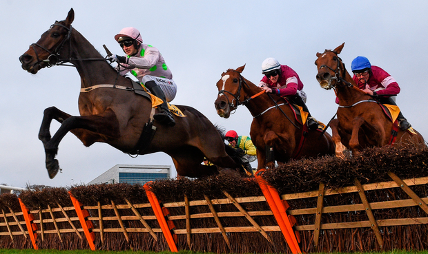 Sharjah and Patrick Mullins clear the last ahead of Samcro, with Jack Kennedy up, and Tombstone, with Davy Russell up, on their way to winning the Ryanair Hurdle at Leopardstown. Photo: David Fitzgerald. Photo: Sportsfile