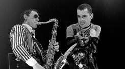 VEGAN TRAILBLAZER: Davey Payne, left, performing with Ian Dury and The Blockheads in London on December 27, 1979. Photo by David Corio/Redferns
