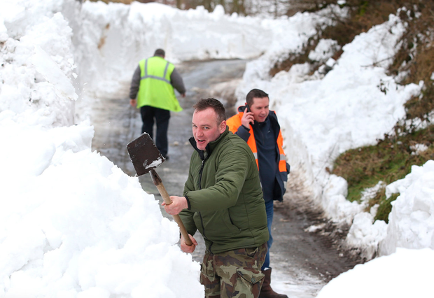 Clearing snow near Blessington, Co Wicklow. Picture: Damien Eagers