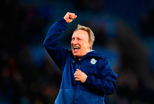 Neil Warnock, manager of Cardiff City reacts during the game. Photo: Getty