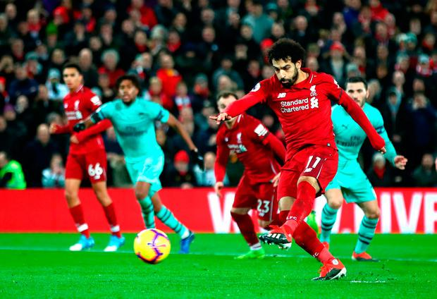 Mohamed Salah of Liverpool scores his sides fourth goal. Photo: Getty