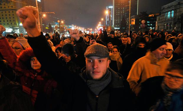 Protest: Sarajevo residents gather on December 25 in a show a solidarity with demonstrations in the city of Banja Luka over the unresolved death of David Dragicevic (22) in March 2018. Photo: Getty Images