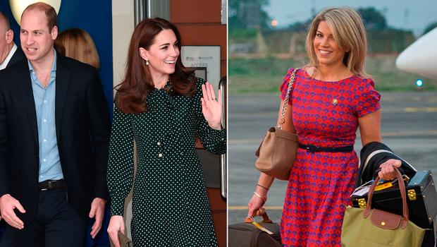Prince William and Kate Middleton, left, and stylist Natasha Archer, right