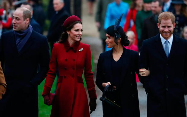 Prince William, Duke of Cambridge and Catherine, Duchess of Cambridge along with Prince Harry, Duke of Sussex and Meghan, Duchess of Sussex arrive at St Mary Magdalene's church for the Royal Family's Christmas Day service on the Sandringham estate in eastern England, Britain, December 25, 2018. REUTERS/Hannah McKay