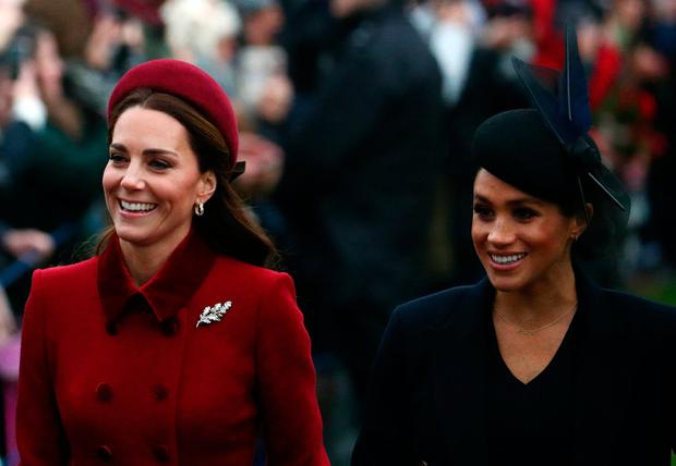 Britain's Catherine, Duchess of Cambridge and Meghan, Duchess of Sussex arrive at St Mary Magdalene's church for the Royal Family's Christmas Day service on the Sandringham estate in eastern England, Britain, December 25, 2018. REUTERS/Hannah McKay