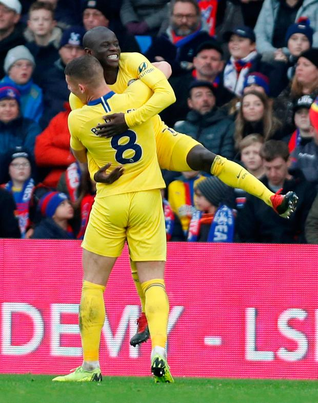 Chelsea's N'Golo Kante celebrates with Ross Barkley