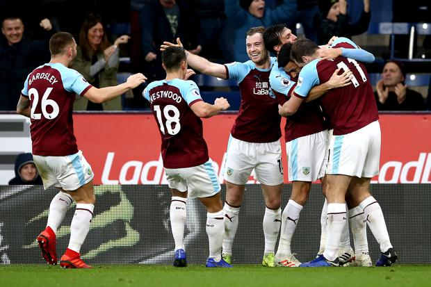 Dwight McNeil of Burnley celebrates after scoring his team's second goal with his team mates against West Ham United at Turf Moor on December 29, 2018. (Photo by Jan Kruger/Getty Images)