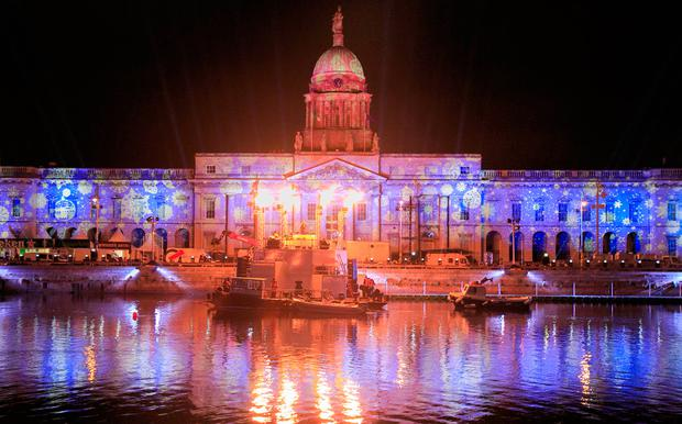Lighting and laser rehearsals at the Customs House, Dublin