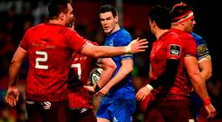 Jonathan Sexton of Leinster and Joey Carbery of Munster following a tussle between both sets of players during the Guinness PRO14 Round 12 match between Munster and Leinster at Thomond Park in Limerick. Photo by Ramsey Cardy/Sportsfile