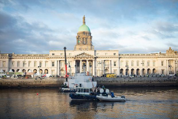 Preparations are underway for New Year's Festival Dublin - including lighting and laser display rehearsals. Picture: Arthur Carron