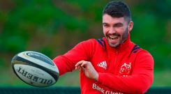 Sammy Arnold in jovial mood during Munster's training session in Limerick yesterday. Photo by Diarmuid Greene/Sportsfile