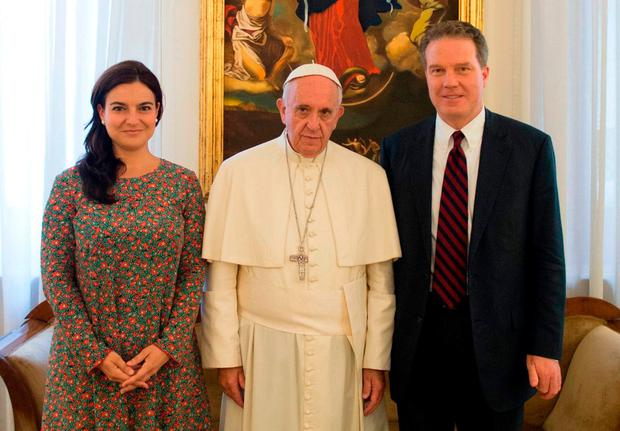Mixed message: Paloma García Ovejero and Greg Burke with Pope Francis. Photo: AFP/Getty Images