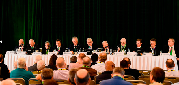 Top table of Irish soccer: The board members of the FAI gather before the 2018 AGM, which was held in Cork's Rochestown Park Hotel back in August. Photo: Stephen McCarthy/Sportsfile