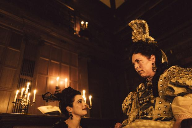 The Favourite. Pictured: Rachel Weisz as Sarah Churchill and Olivia Colman as Queen Anne. PA Photo/Fox Searchlight Pictures/Yorgos Lanthimos. All Rights Reserved.