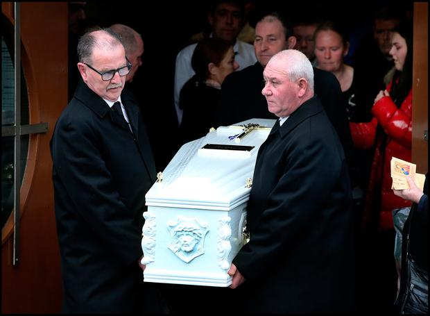 The funeral of Megan O'Connor who died following a freak accident at the Church of St. Thomas The Apostle in Jobstown Tallaght. Pic Steve Humphreys
