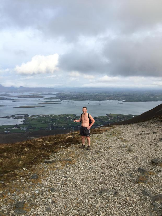 John on Croagh Patrick, overlooking Clew Bay.