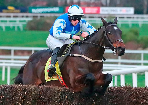 Kemboy and David Mullins on their way to victory in The Savills Chase. Photo: Niall Carson/PA Wire