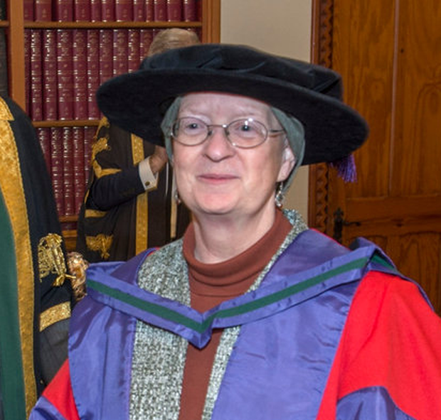'Warrior': Adrienne Cullen receiving her Honorary Doctorate from UCC last month. Photo: Michael Mac Sweeney/Provision