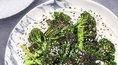 Charred Broccoli with tahini and garlic by Indy Power