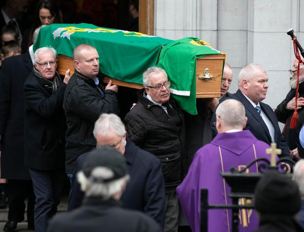 The Funeral of Jer O'Leary leaving his Funeral mass in St Agatha's Church,North Strand Photo: Kyran O'Brien