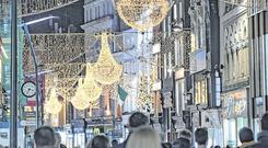 Festive scene: Christmas lights on Grafton Street, Dublin. Picture: Arthur Carron.
