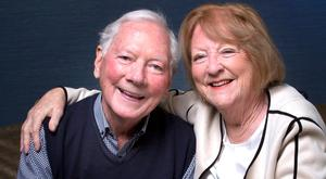 Battle: Gay Byrne with wife Kathleen – she says he isn't ready yet for radio return. Photo: David Conachy