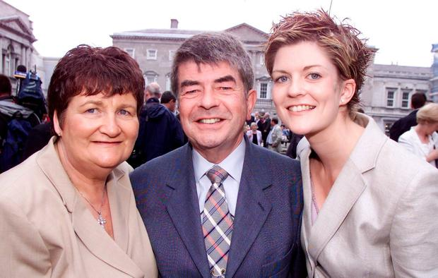 Debut: Peter Kelly with wife Maura and daughter Emily on his first day in the Dáil as the new Fianna Fáil deputy for Longford-Roscommon in 2002. Photo: Tom Burke
