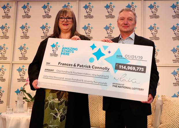Frances Connolly, 52, and Patrick Connolly, 54, from Moira, County Armagh in Northern Ireland, who scooped a £115 million EuroMillions jackpot in the New Year's Day lottery draw, during a photocall at the Culloden Estate and Spa in Holywood, Belfast, as they announce their win. Photo: Liam McBurney/PA Wire