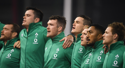 17 November 2018; Ireland players, from left, Jack McGrath, James Ryan, Peter O'Mahony, Jonathan Sexton, Keith Earls, Bundee Aki and Kieran Marmion sing the National Anthem prior to the Guinness Series International match between Ireland and New Zealand at the Aviva Stadium in Dublin. Photo by David Fitzgerald/Sportsfile