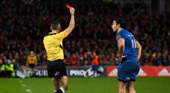 29 December 2018; James Lowe of Leinster receives a red card from referee Frank Murphy during the Guinness PRO14 Round 12 match between Munster and Leinster at Thomond Park in Limerick. Photo by Ramsey Cardy/Sportsfile