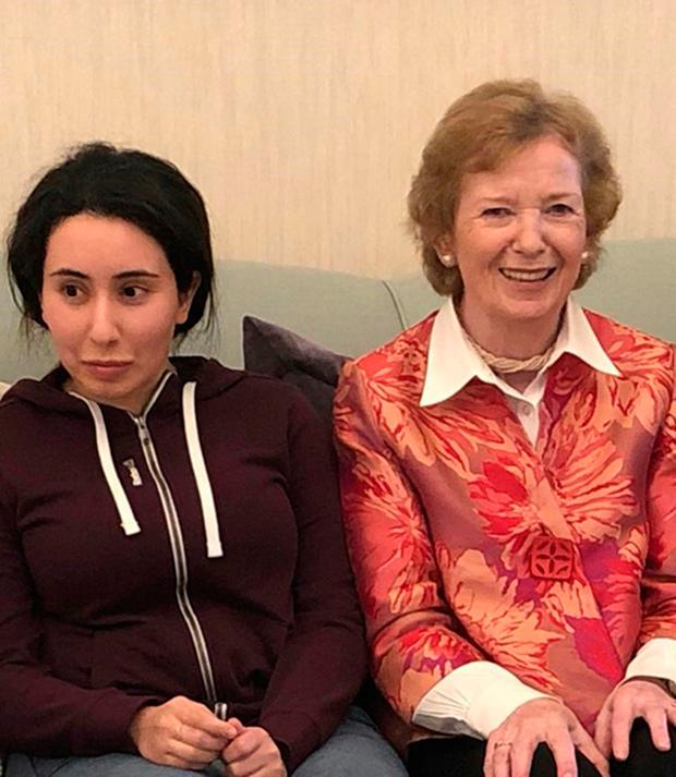 Sheikha Latifa bint Mohammed Al Maktoum, a daughter of Dubai's ruler Sheikh Mohammed bin Rashid Al Maktoum, left, meets Mary Robinson, former president of Ireland. Photo: United Arab Emirates Ministry of Foreign Affairs and International Cooperation via AP