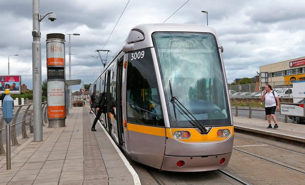 Bluebell Luas Stop...31/07/'18 Bluebell Luas Stop pictured this afternoon, where a Cash in Transit van was robbed today, and a person was assaulted and taken to hospital, after collecting the takings from a ticket machine at the Luas stop..Picture Colin Keegan, Collins Dublin.