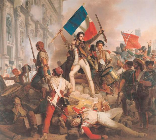 REVOLUTION: Battle Outside the Hotel de Ville, as painted by Jean Victor Schnetz in 1833