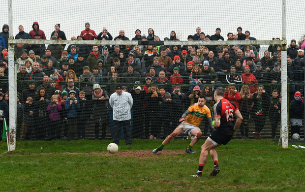 6 January 2019; Leitrim goalkeeper Diarmuid McKiernan watches on as Mayo's Evan Regan scores his side's winning penalty after the Connacht FBD League Preliminary Round match between Leitrim and Mayo ended in a draw at Avantcard Páirc Seán Mac Diarmada in Carrick-on-Shannon, Co Leitrim. Photo by Stephen McCarthy/Sportsfile