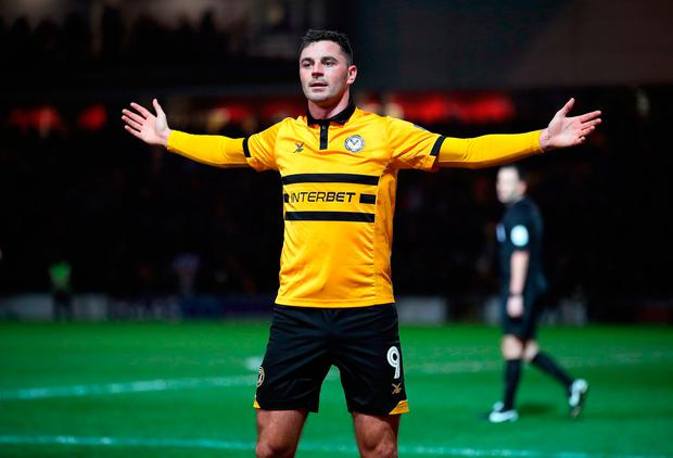 Newport County's Padraig Amond celebrates scoring his side's second goal of the game. Sunday January 6, 2019. Nick Potts/PA Wire.