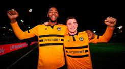 Newport County goalscorers Jamille Matt (left) and Padraig Amond celebrate after the Emirates FA Cup, third round match at Rodney Parade, Newport. PRESS ASSOCIATION Photo. Picture date: Sunday January 6, 2019. See PA story SOCCER Newport. Photo credit should read: Nick Potts/PA Wire.