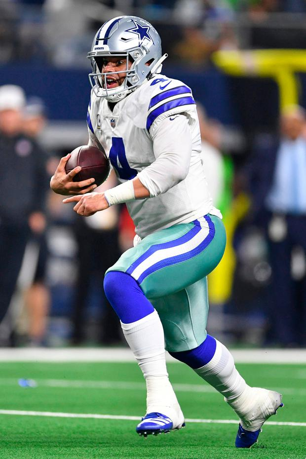 Prescott completed 22 of 33 passes for 226 yards and a touchdown and also scored the decisive TD on a one-yard run with 2:08 remaining. Photo: Shane Roper-USA TODAY Sports