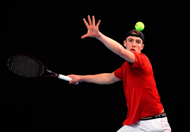 Osgar O'Hoisin in action during the Men's Singles final match. Photo by Harry Murphy/Sportsfile