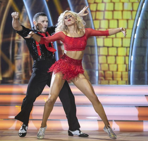 Johnny Ward and Emily Barker dancing a Jive to Leif Garrett's 'Johnny B Goode' during the First live show of Dancing With The Stars Photo: Kyran O'Brien