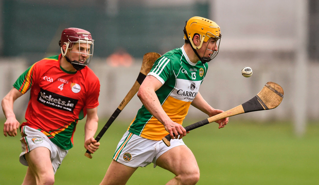 Paddy Murphy, Offaly, in action against Alan Corcoran, Carlow. Picture credit: Matt Browne / Sportsfile
