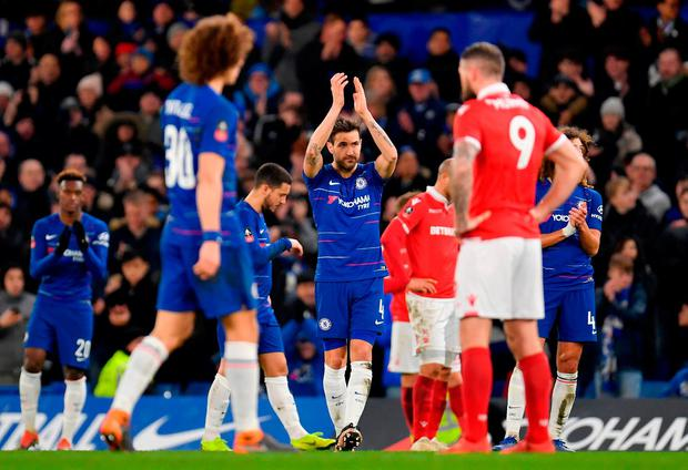 Cesc Fabregas acknowledges the Stamford Bridge crowd as he is substituted in the victory over Nottingham Forest in what may be his final game on English soil. Photo: Justin Setterfield/Getty Images