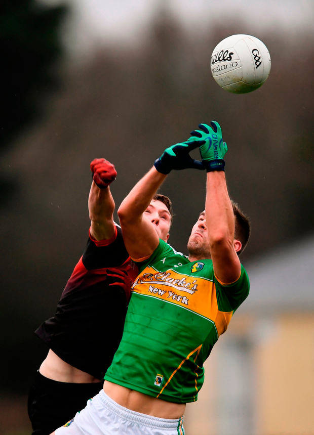 Shane Moran of Leitrim in action against Fionn McDonagh of Mayo. Photo by Stephen McCarthy/Sportsfile