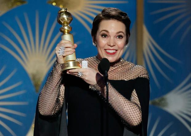 Olivia Colman, winner of Best Actress - Motion Picture, Musical or Comedy, accepts her award. Paul Drinkwater/NBC Universal/Handout via REUTERS