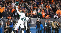 Philadelphia Eagles free safety Corey Graham (24) celebrates after a missed field goal by Chicago Bears kicker Cody Parkey (not pictured) in the fourth quarter of a NFC Wild Card playoff football game at Soldier Field. Credit: Mike DiNovo-USA TODAY Sports