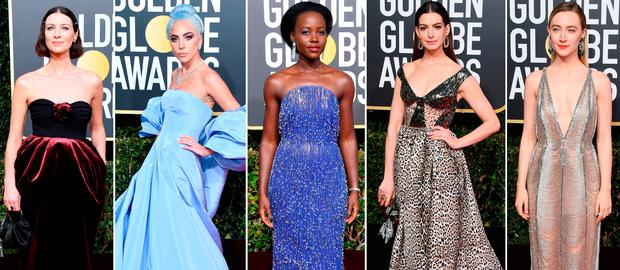 (L to R) Caitriona Balfe, Lady Gaga, Lupita Nyong'o, Anne Hathaway and Saoirse Ronan at the 2019 Golden Globes